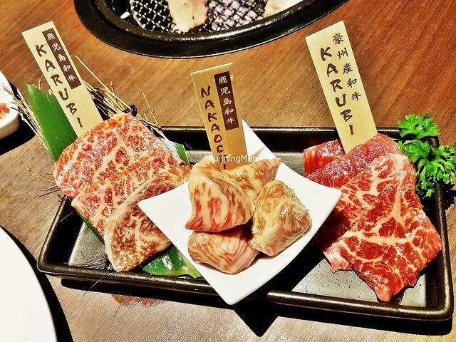 Raw Wagyu Signature Platter - Kagoshima Beef Wagyu Chuck Karubi, Kagoshima Beef Wagyu Nakaochi Karubi, Beef Wagyu Karubi