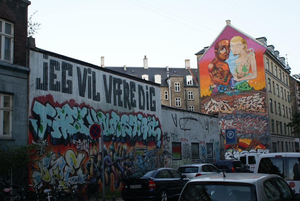 Street art dans une rue de Vesterbro.
