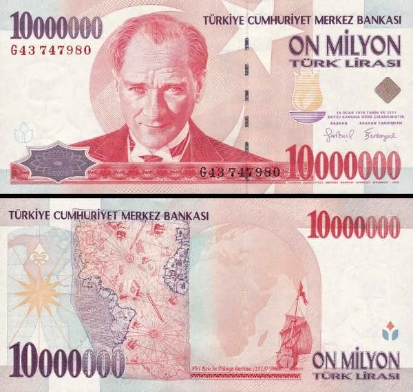 10 000 000 Lír Turecko 1997, P214b