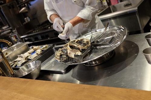 preparing oyster platter