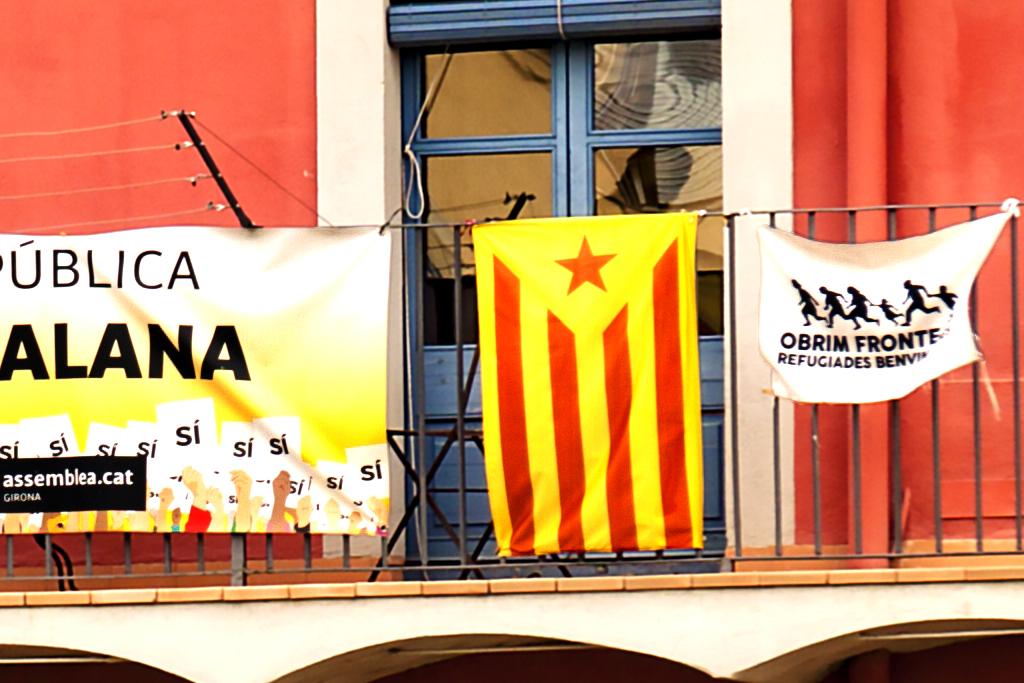 Catalan flags on balconies--Girona (detail)