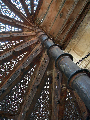 Spiral wrought-iron staircase in Jodhpur Fort, India