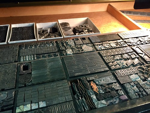 Drawers of type for hand set covers and pages - Minnesota Book Restoration