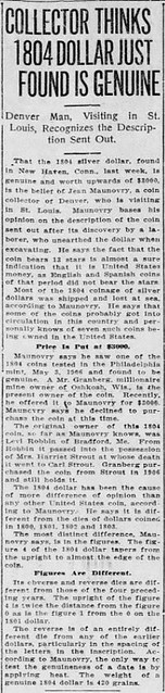 Maunovry 1804 dllar article St Louis Post Dispatch 1914