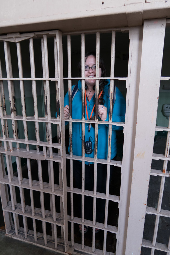 Melissa behind bars at Alcatraz