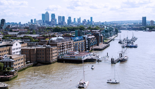 St Katarines Dock and Thames from the top of Tower Bridge.psd