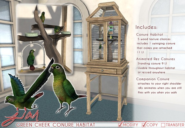 JIAN Green Cheek Conure Habitat (FaMESHed)