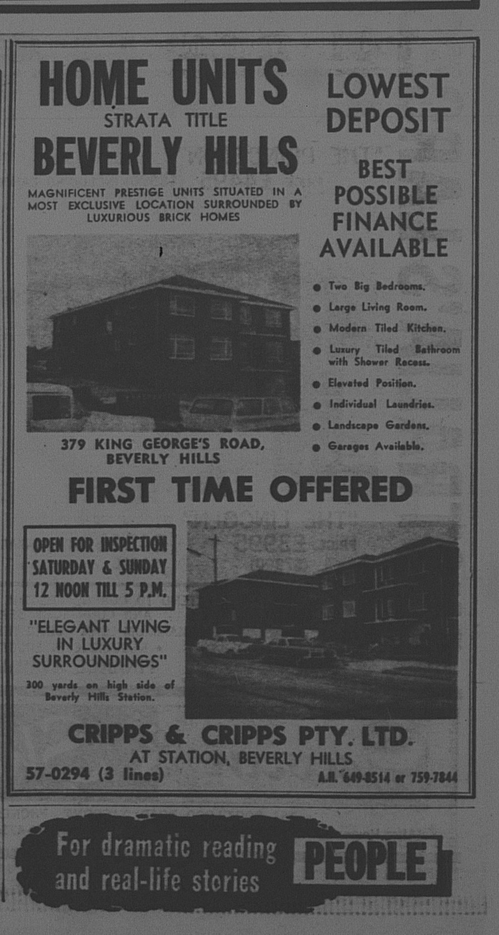 Beverley Hills Units Ad October 7 1966 The Sun 46