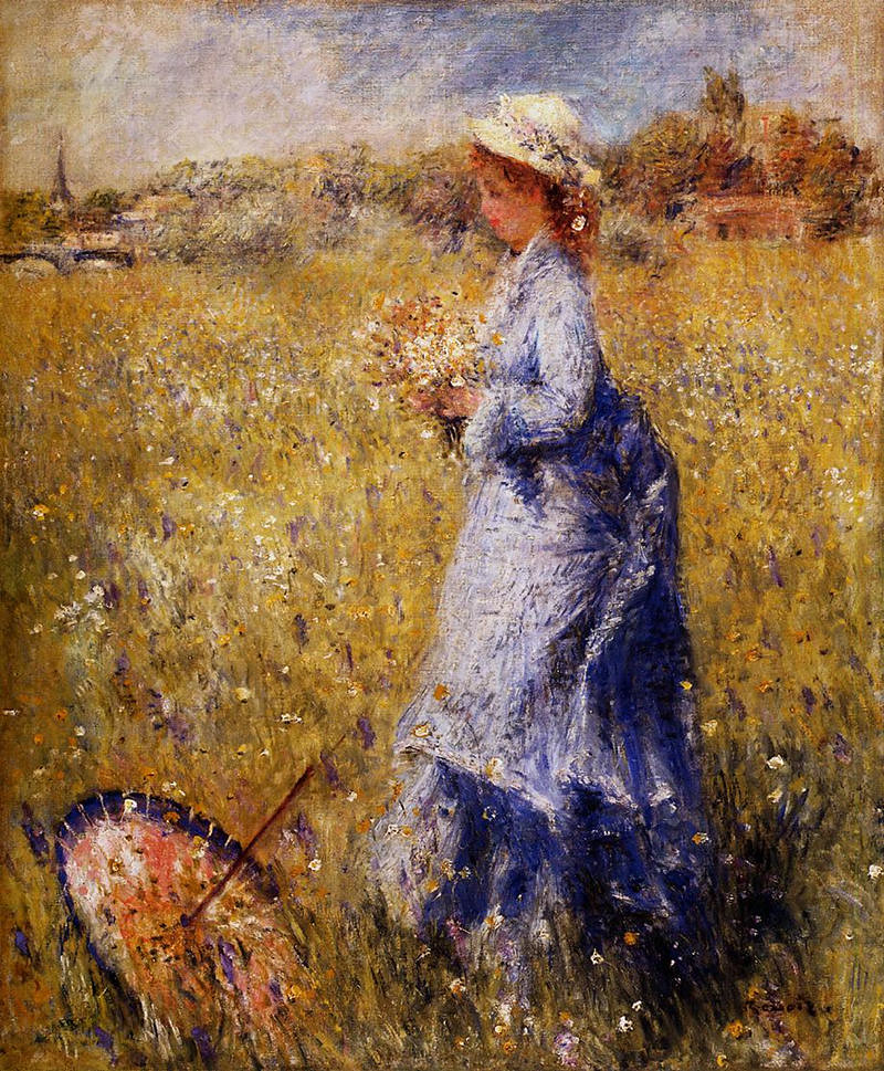 Girl Gathering Flowers by Pierre Auguste Renoir, 1872
