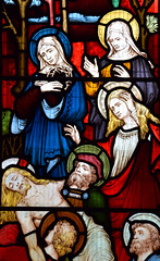 Three Marys watch Christ taken down from the cross (Clayton & Bell, 1873)