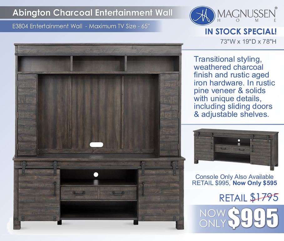 Abington Charcoal Entertainment Wall