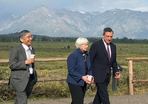 Haruhiko Kuroda, Janet Yellen e Mario Draghi