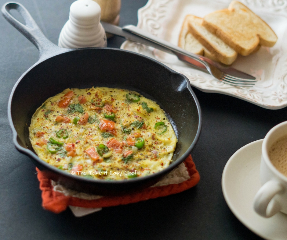 Masala Omelette - Served with Toast and Tea