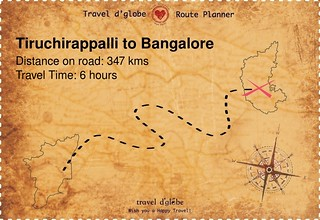 Map from Tiruchirappalli to Bangalore