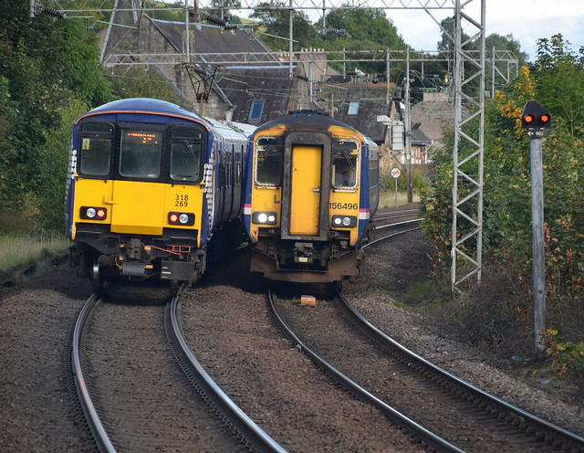 318 619 and 156 496 pass just outside Bowling station
