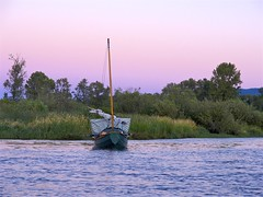 after a swim, and dinner, anchored in the south end of Bernie Slough