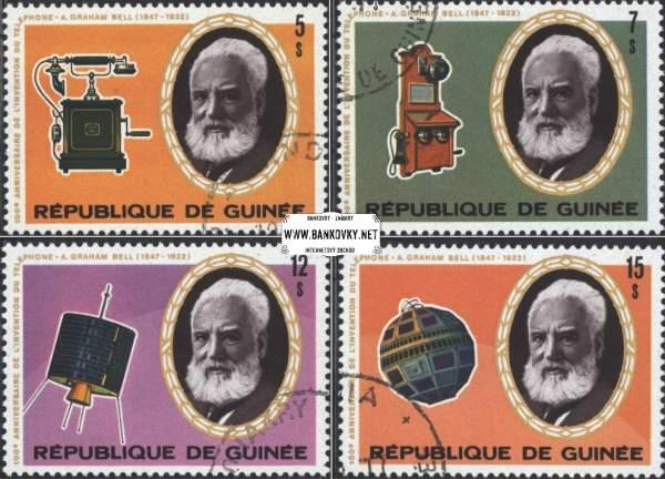 Známky Guinea 1976 100 rokov telefónu, razítkovaná séria