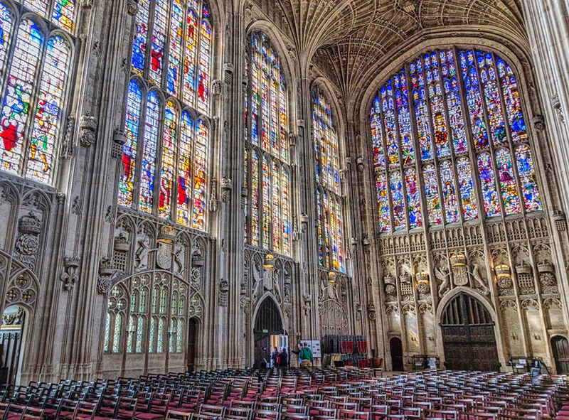 Interior of King's College Chapel, view of the stained glass windows. Credit Jean-Christophe Benoist