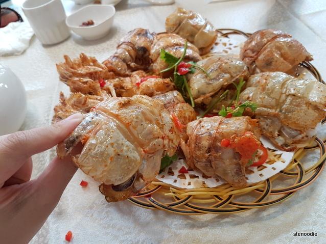 fried salt and peppered mantis shrimp