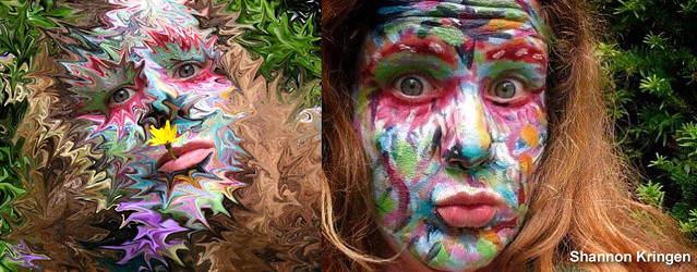 side by side kring facepaint before and after