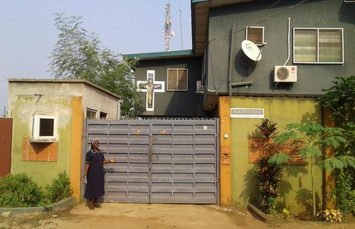 The entrance to Bakhita Villa safe house in Lagos, Nigeria, established by Patricia Ebegbulem SSL where rescued victims of human trafficking are rehabilitated