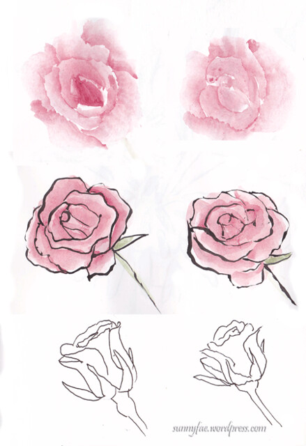 left hand drawing of a rose