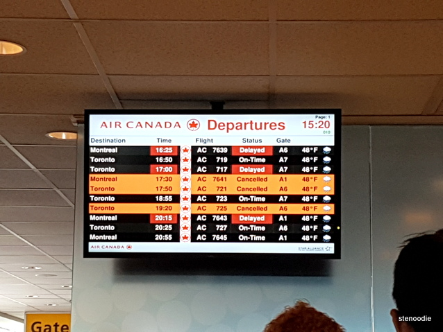 Air Canada departure screen