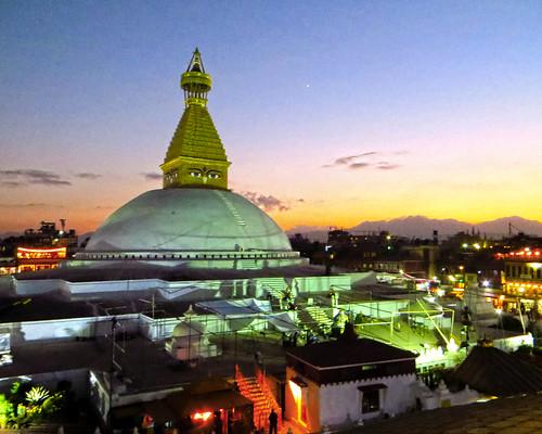 boudhanath stupa kathmandu nepal sunset glow lights night
