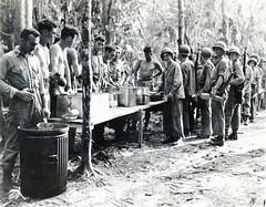 Marines Lining Up for Food, Guadalcanal, circa 1942