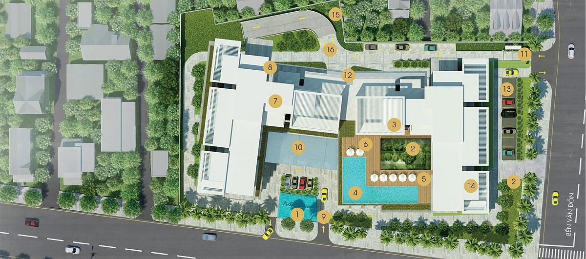 Sơ đồ phân bổ tiện ích trong dự án Masteri Millennium quận 4.