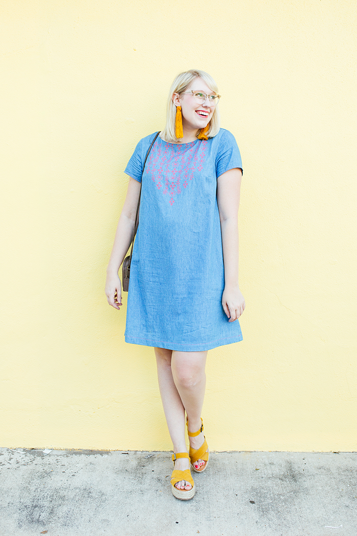 austin style blogger writes like a girl embroidered denim shift dress2