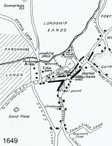 Map of Dorking circa 1649