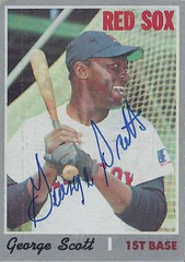 1970 Topps - George Scott #385 (First Base) (b. 23 Mar 1944 - d. 28 Jul 2013 at age 69) - Autographed Baseball Card (Boston Red Sox)