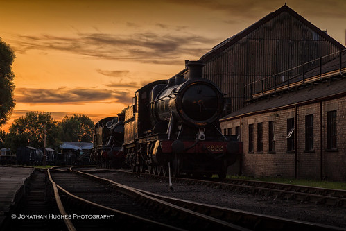 sunset didcot hall greatwestern steam loco shed rails glint oxfordshire skies clouds