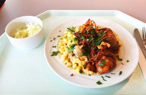 Swabian dish - Two fried pork fillet medaillions with mushroom sauce, roasted onions & cheese noodles / Schwabenteller - Zwei gebratene Schweinefiletmedaillons mit Schwammerlsauce, Röstzwiebeln & Käsespätzle