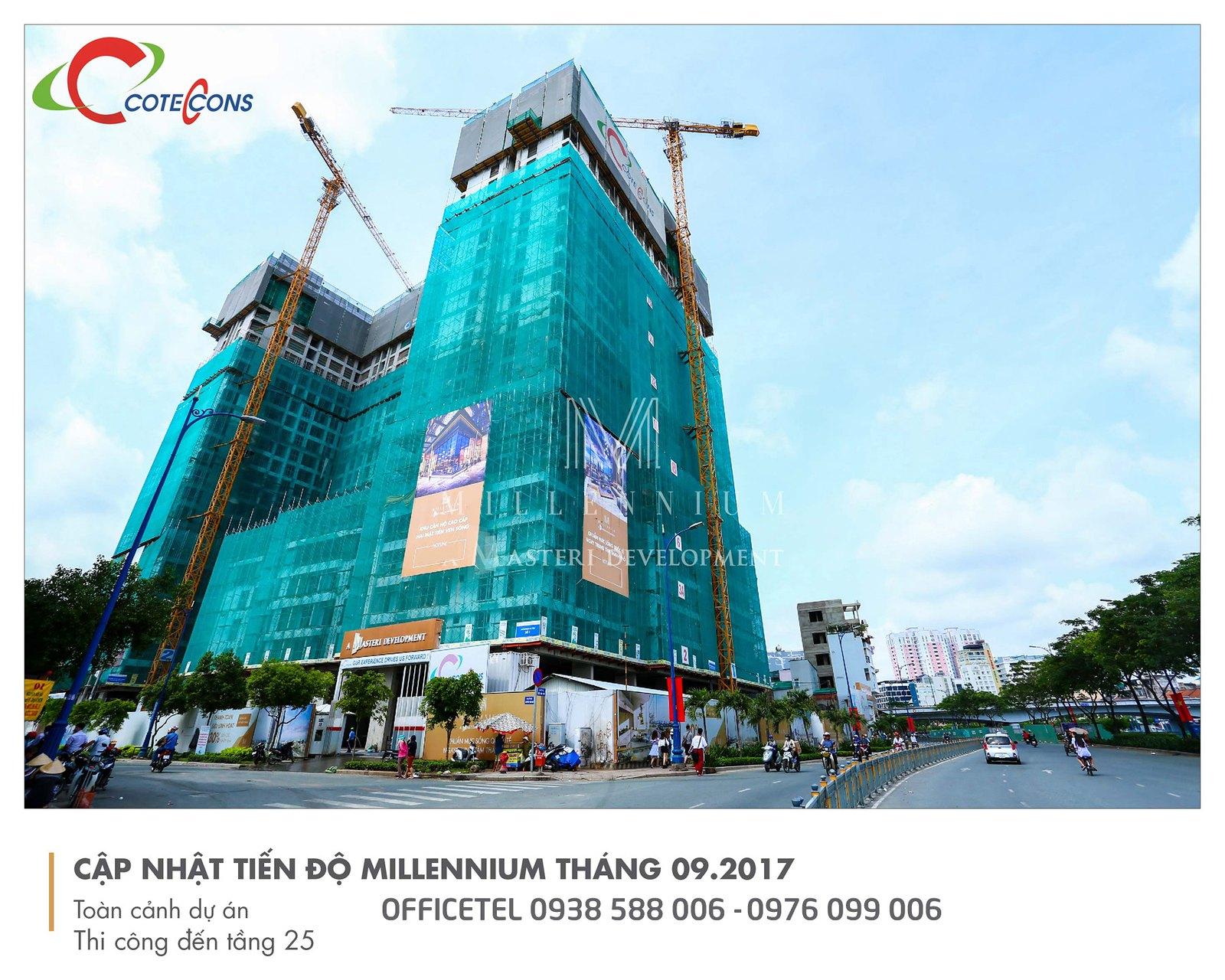 Tiến độ thi công đầu tháng 9/2017 dự án Millennium.