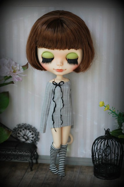 Dress with striped knee-socks