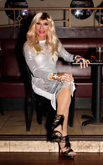 Cortney - Blonde in Silver and White at Hamburger Marys in Long Beach
