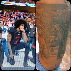 Fun tattoo! Controversial however I'll leave my opinion out of it, none the less fun tattoo.. Let me know what ya think? #tattoosleeve #tattoooftheday #tattoo #tattoos #blackandgreytattoo #urbanink #eternalink #portrait #portraittattoo #colinkaepernick. #