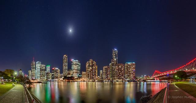 Moon over Brisbane city