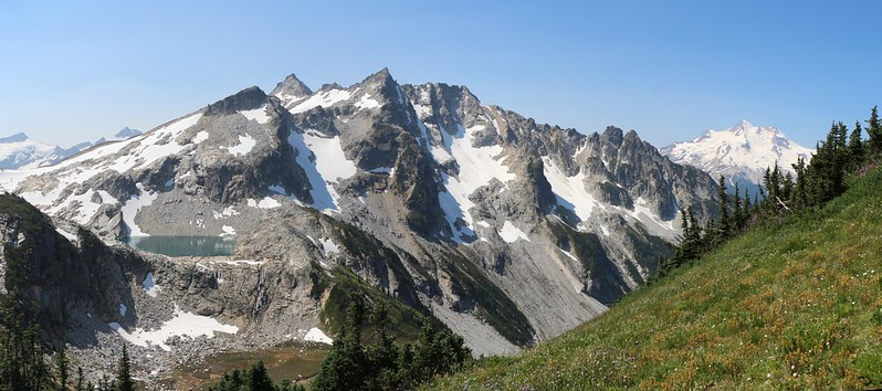 Clarke, Luahna, Peak 7529, Cirque, Disappointment, and Glacier Peak from the High Pass Trail