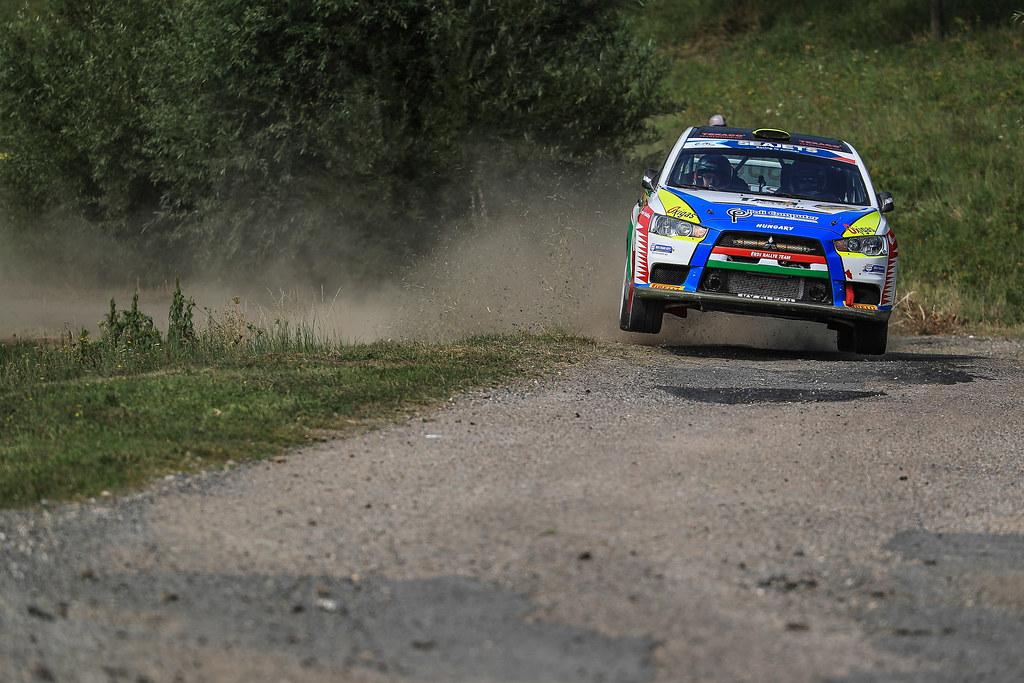 32 ERDI Tibor Jr. (HUN) PAPP Gyorgy (HUN) Mitsubishi Lancer Evo X actionduring the 2017 European Rally Championship ERC Barum rally,  from August 25 to 27, at Zlin, Czech Republic - Photo Jorge Cunha / DPPI