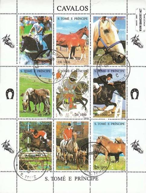 Známky Svätý Tomáš 1995 Kone, razítkovaný hárok