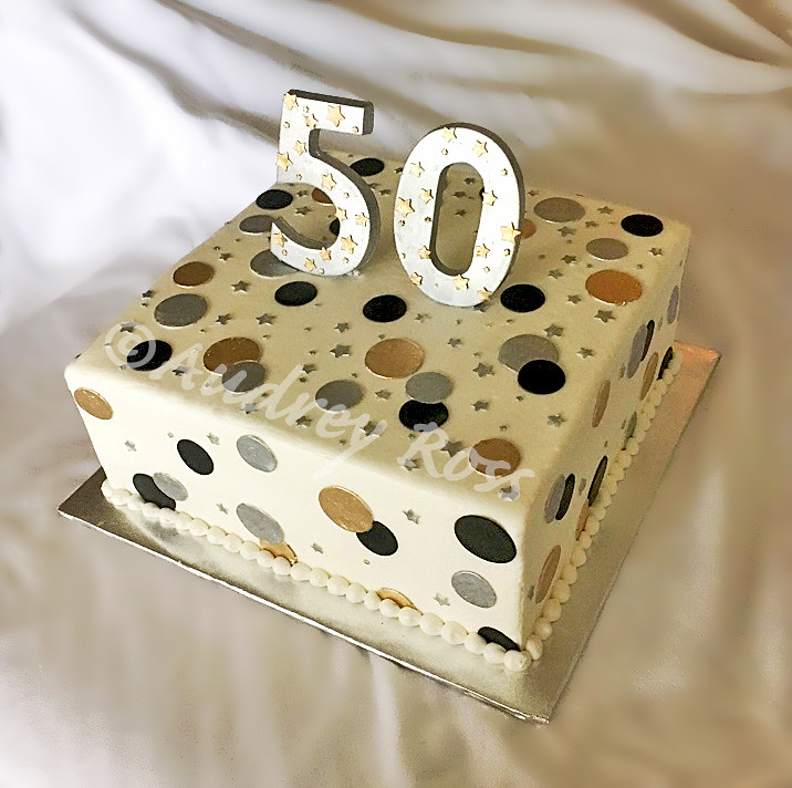 Silver And Gold 50th Birthday Cake