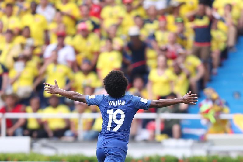 Willian abriu o placar para o Brasil (Foto: Lucas Figueiredo/CBF)
