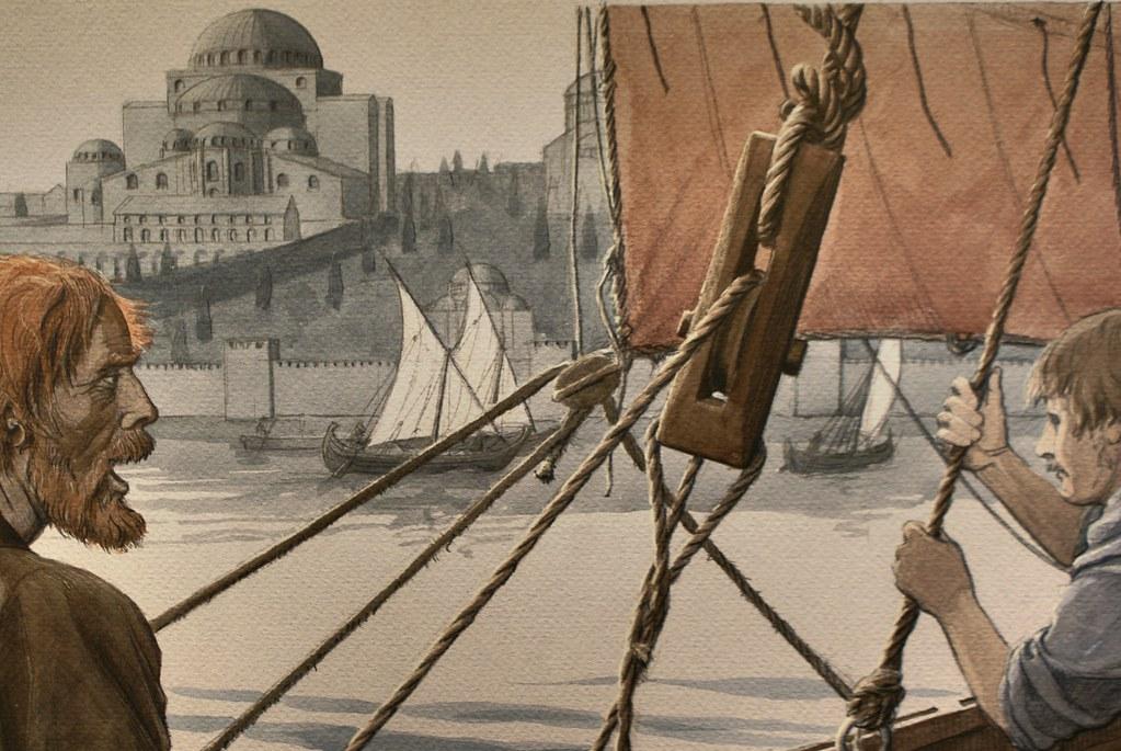 Vikings devant Sainte Sophie à Byzance, illustration du musée des Vikings à Copenhague.