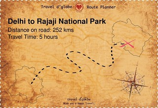 Map from Delhi to Rajaji National Park