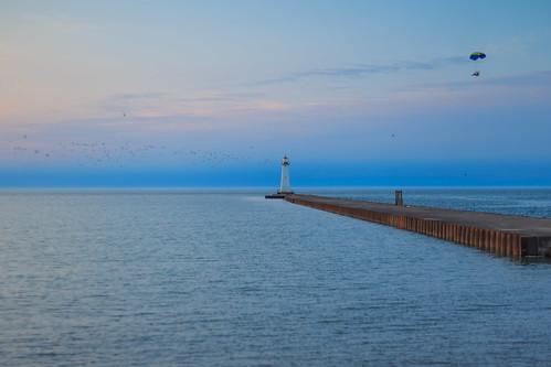 soduspoint soduspointbeachpark lakeontario greatlakes newyork ny lake beach water lighthouse pier sunset goldenhour canon6d canon 6d spring