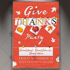 Thanksgiving Party - Autumn Flyer PSD Template