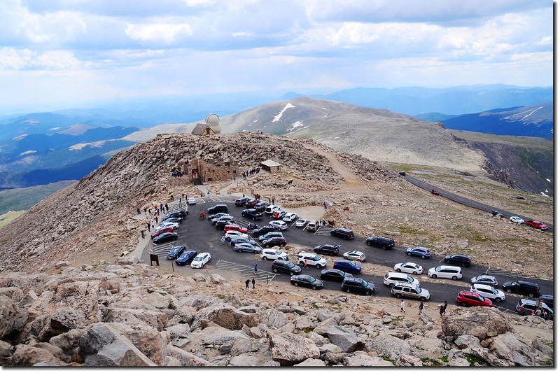 Overlooking down to Summit Parking Lot from Evans' summit